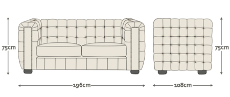Dimensions for Kingsley 3 Seater Sofa